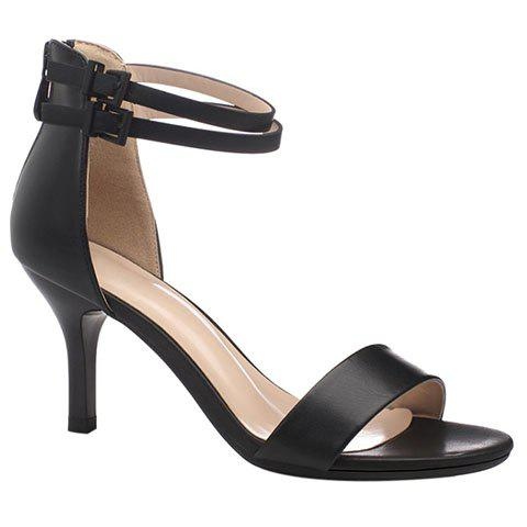 Elegant Double Buckle and Stiletto Heel Design Women's Sandals - BLACK 34