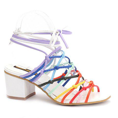 Trendy Cross-Straps and Multicolor Design Women's Sandals - COLORMIX 39