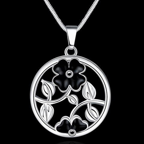 Hollow Out Flower Pendant Necklace - SILVER