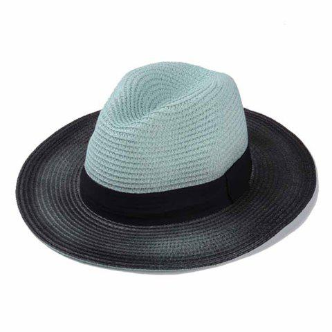 Stylish Black Band Embellished Ombre Brim Men's Straw Hat - MINT GREEN