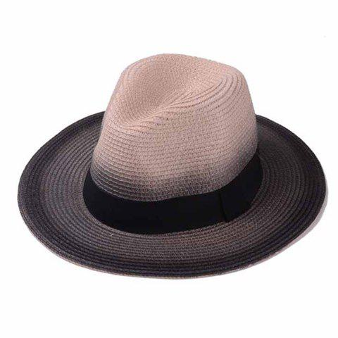 Stylish Black Band Embellished Ombre Brim Men's Straw Hat - PINK