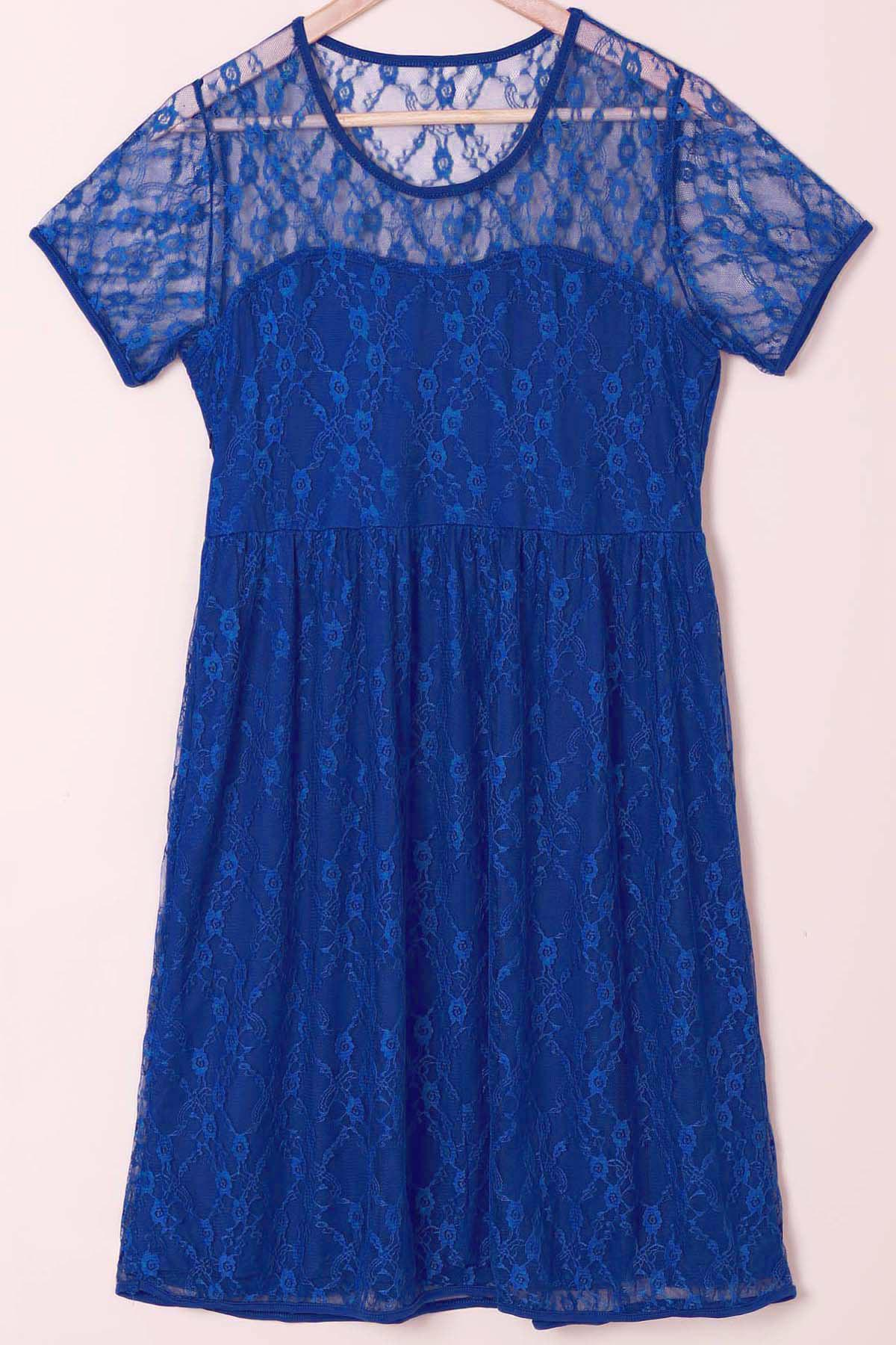 Sexy Scoop Collar Short Sleeve Solid Color See-Through Women's Lace Dress - BLUE XL