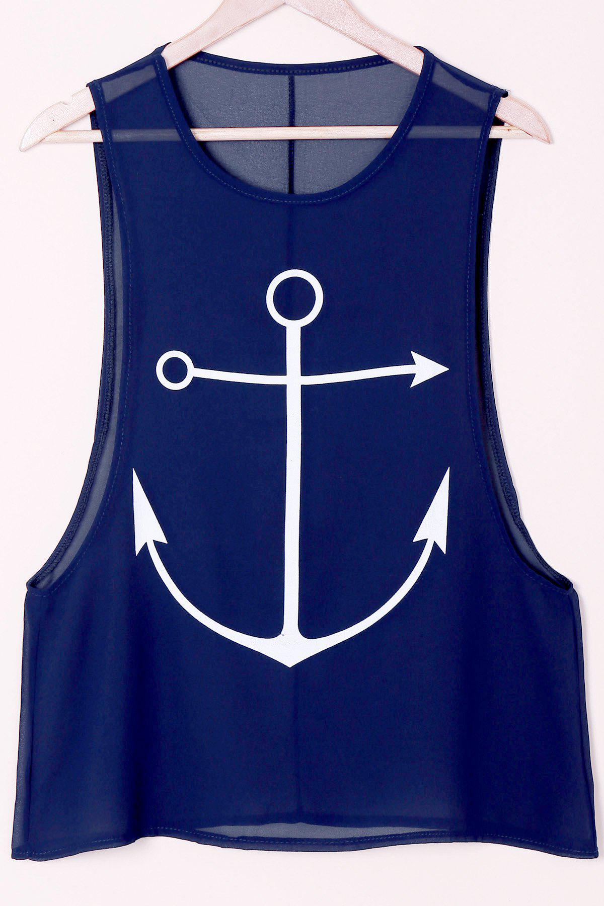 Stylish Sleeveless Round Collar Anchor Print Women's Tank Top - CADETBLUE L