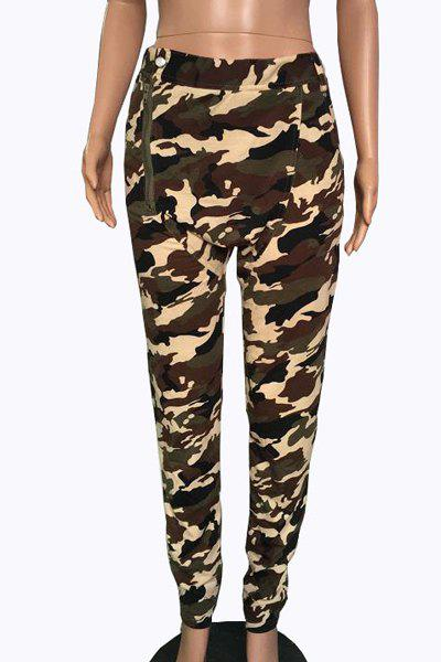 Pantalons Trendy Mid-Waisted Zipper design Camo Imprimer Femmes - Camouflage S