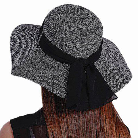 Chic Yarn Lace-Up Embellished Round Top Women's Straw Hat - BLACK