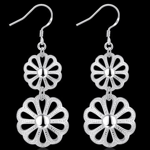 Pair of Gorgeous Solid Color Blossom Drop Earrings For Women - SILVER