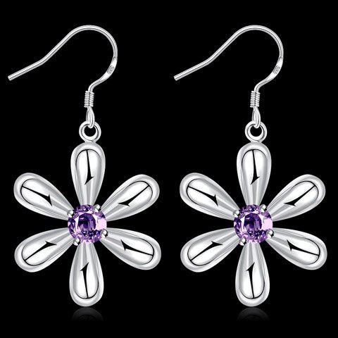 Pair of Blossom Faux Amethyst Earrings - PURPLE