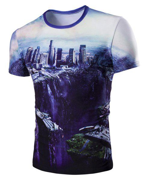 Round Neck The Fall of the City 3D Print Short Sleeve Men's T-Shirt - COLORMIX M