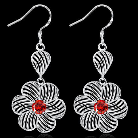 Pair of Hollow Out Rhinestone Blossom Earrings - RED