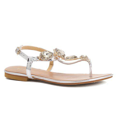 Casual Rhinestones and Flat Heel Design Women's Sandals - SILVER 38