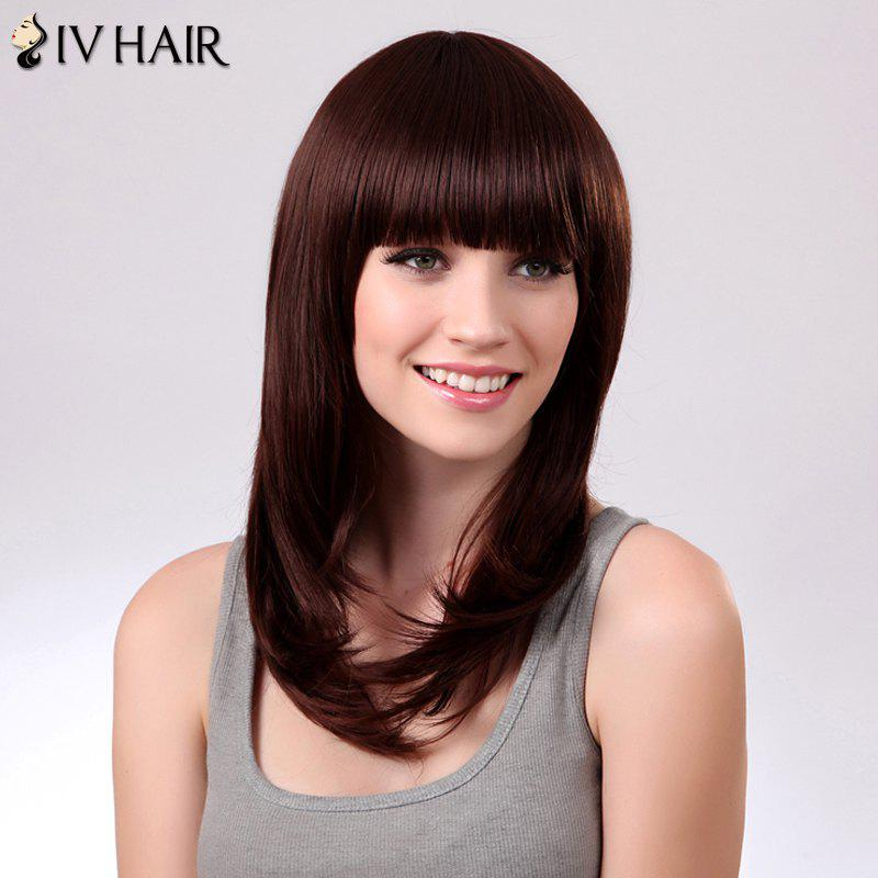 Charming Siv Hair Natural Straight Full Bang Human Hair Women's Wig - DARK AUBURN BROWN