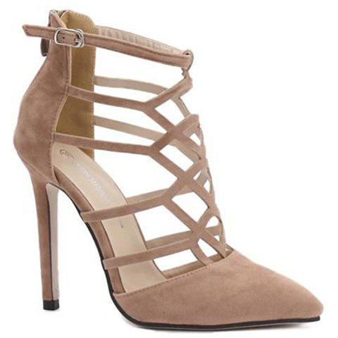 Trendy Hollow Out and Suede Design Women's Pumps - APRICOT 36