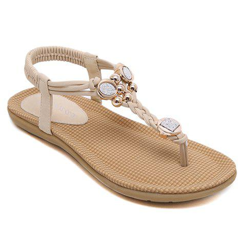 Simple Beading and Weaving Design Women's Sandals - APRICOT 35