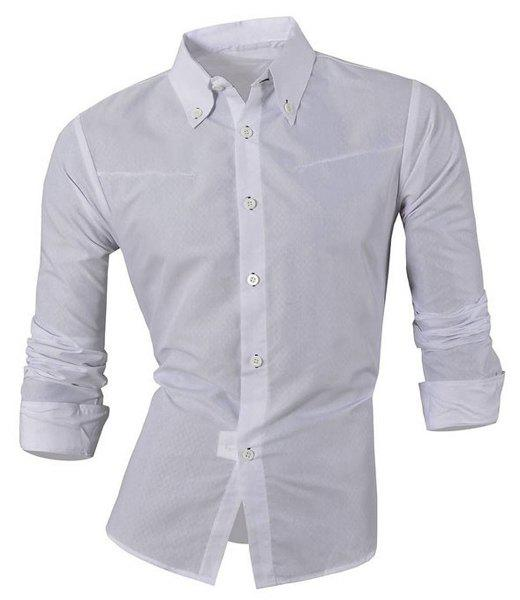 Plus Size Argyle Print Turn-Down Collar Long Sleeve Men's Shirt - 3XL WHITE