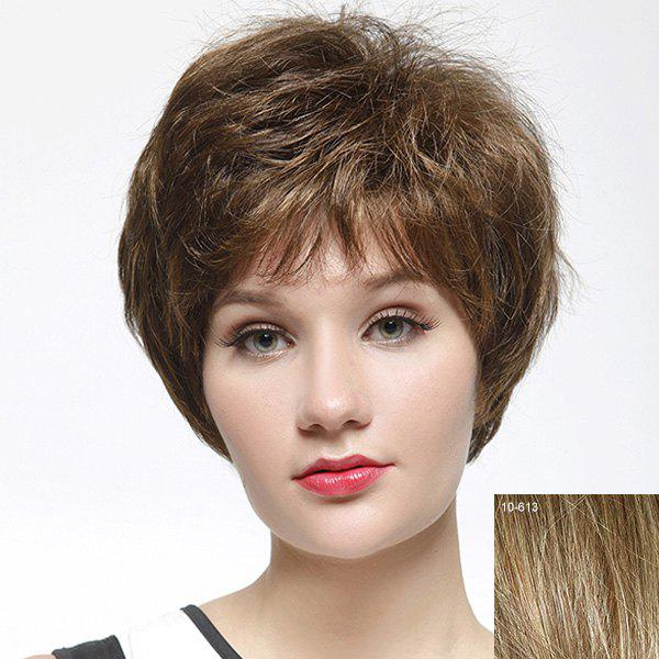 Stylish Full Bang Capless Shaggy Short Natural Straight Human Hair Wig For Women - LIGHT CHOCOLATE