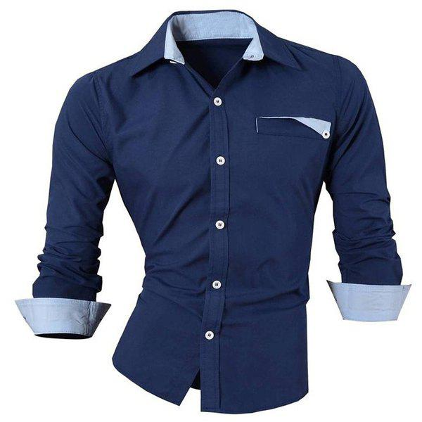 Hot Sale Turn Down Collar Single Breasted Shirt For Men - PURPLISH BLUE L