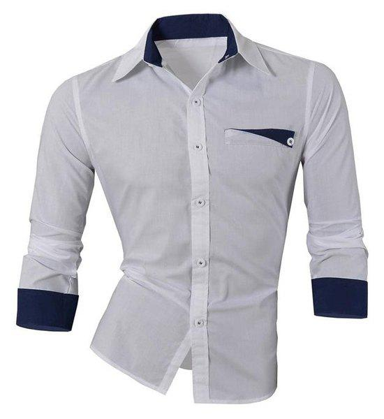 Hot Sale Turn Down Collar Single Breasted Shirt For Men - WHITE M