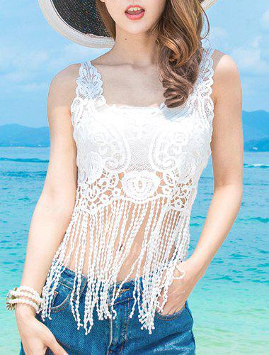 Fashionable Women's Tube Top + Fringed Hollow Out Lace Cover-Up Twinset - WHITE ONE SIZE(FIT SIZE XS TO M)