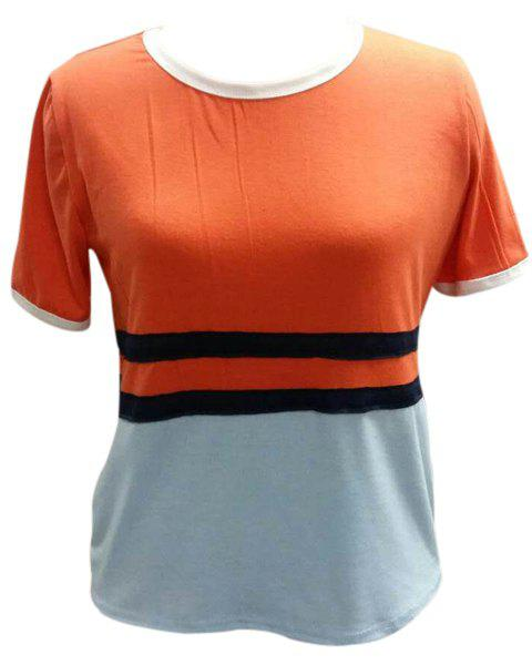 Fashionable Women's Round Neck Short Sleeve Color Block Tee - JACINTH XL