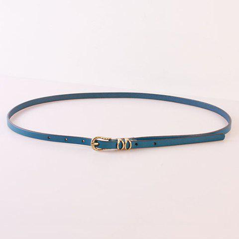 Elegant Pin Buckle Solid Color Waist Belt For Women - BLUE