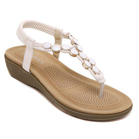 Stylish Platform and Elastic Band Design Women's Sandals - WHITE 36