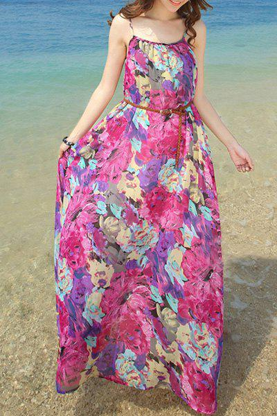 Chiffon Long Floral Slip Beach Dress - ROSE S