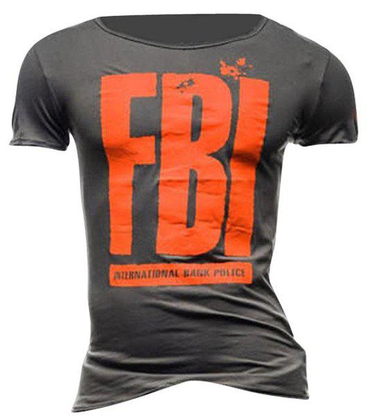 Round Neck FBI Letter Printed Short Sleeve Men's T-Shirt - DEEP GRAY M