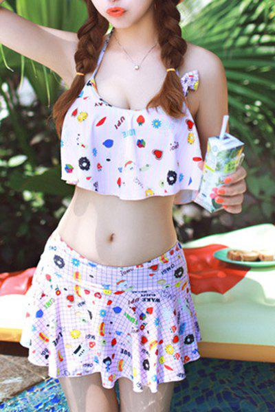 Trendy Halter Bowknot Embellished Printed Swimsuit For Women - L PINK