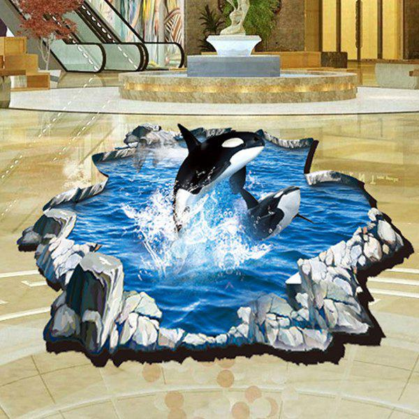 Stylish 3D Whale Pattern Wall Sticker For Bathroom Livingroom Floor Decoration