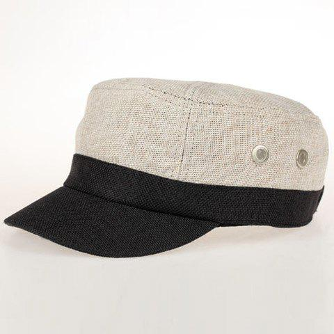 Chic Two Buttons Embellished Women's Military Hat - LIGHT GRAY