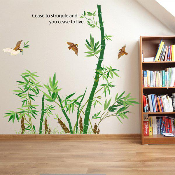 Stylish Birds and Bamboo Pattern Wall Sticker For Bedroom Livingroom Decoration - COLORMIX