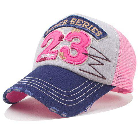 Fashion Numbers Shape and Broken Hole Embellished Mesh Baseball Cap - PINK