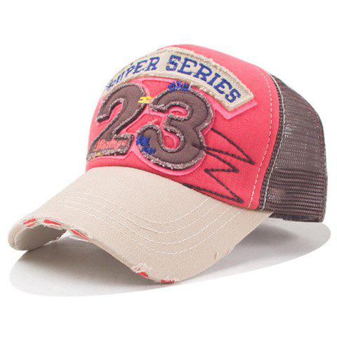 Fashion Numbers Shape and Broken Hole Embellished Mesh Baseball Cap - COFFEE