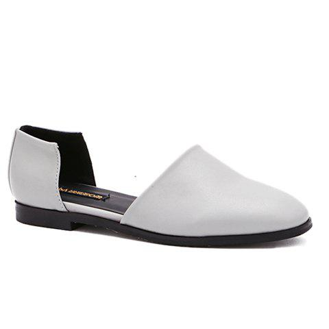 Casual PU Leather and Square Toe Design Womens Flat ShoesShoes<br><br><br>Size: 39<br>Color: LIGHT GRAY