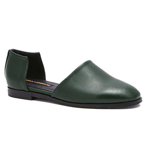 Casual PU Leather and Square Toe Design Women's Flat Shoes - BLACKISH GREEN 37