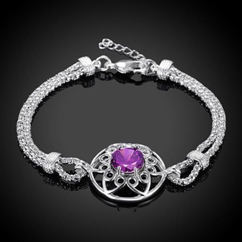 Faux Amethyst Floral Hollow Out Bracelet - PURPLE