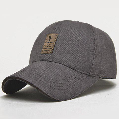 Stylish Rectangle Labelling Embellished Men's Sport Baseball Cap - DEEP GRAY