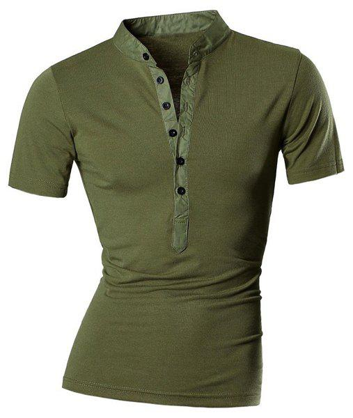 Spliced Design Stand Collar Buttons Short Sleeve Men's T-Shirt - ARMY GREEN XL