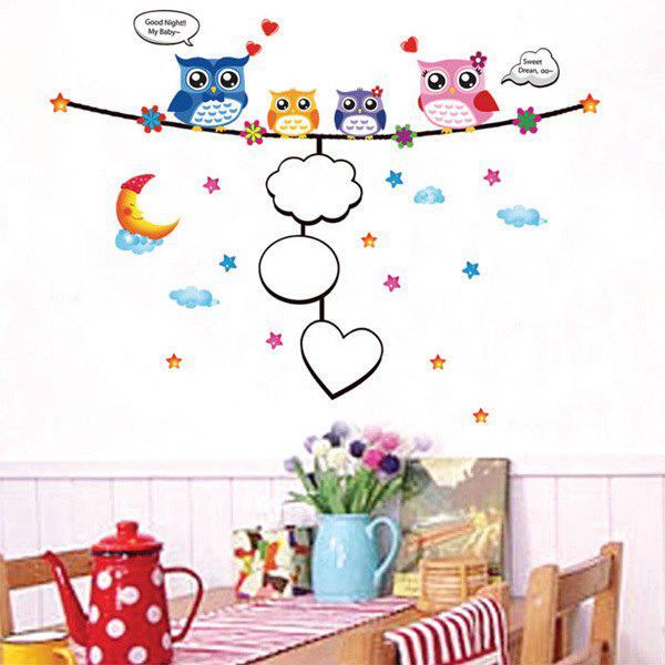 Stylish Cartoon Night Owl Pattern Photo Wall Sticker For Bedroom Livingroom Decoration - COLORMIX