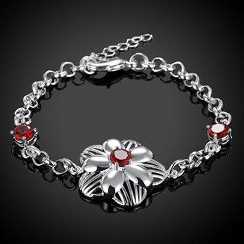 Rhinestone Flower Chain Bracelet - RED