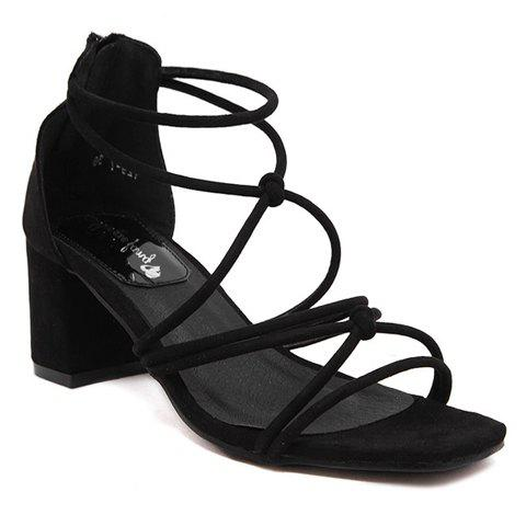Stylish Zipper and Chunky Heel Design Women's Sandals - BLACK 39