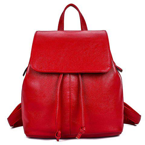 Classic Cover and Drawstring Design Women's Satchel - RED