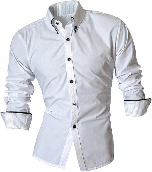 Button-Down Stripe Hemming Design Turn-Down Collar Long Sleeve Men's Shirt - WHITE M
