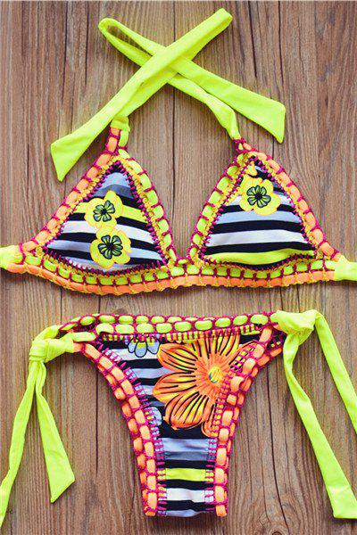 Alluring Women's Halter Lace-Up Striped Floral Print Crochet Bikini Set