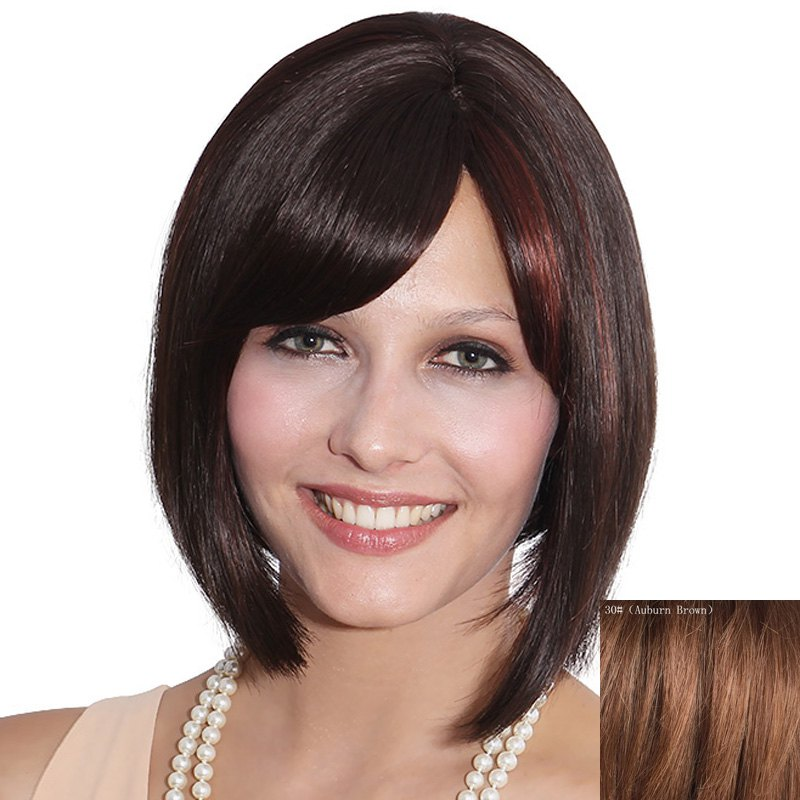 Elegant Bob Style Short Capless Straight Side Bang Women's Human Hair Wig - AUBURN BROWN 3