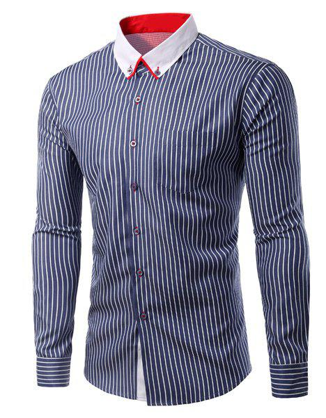Vertical Stripe Slimming Turn-Down Collar Long Sleeve Men's Shirt