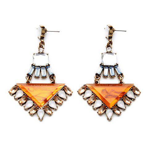 Pair of Graceful Faux Gem Triangle Water Drop Earrings For Women - YELLOW