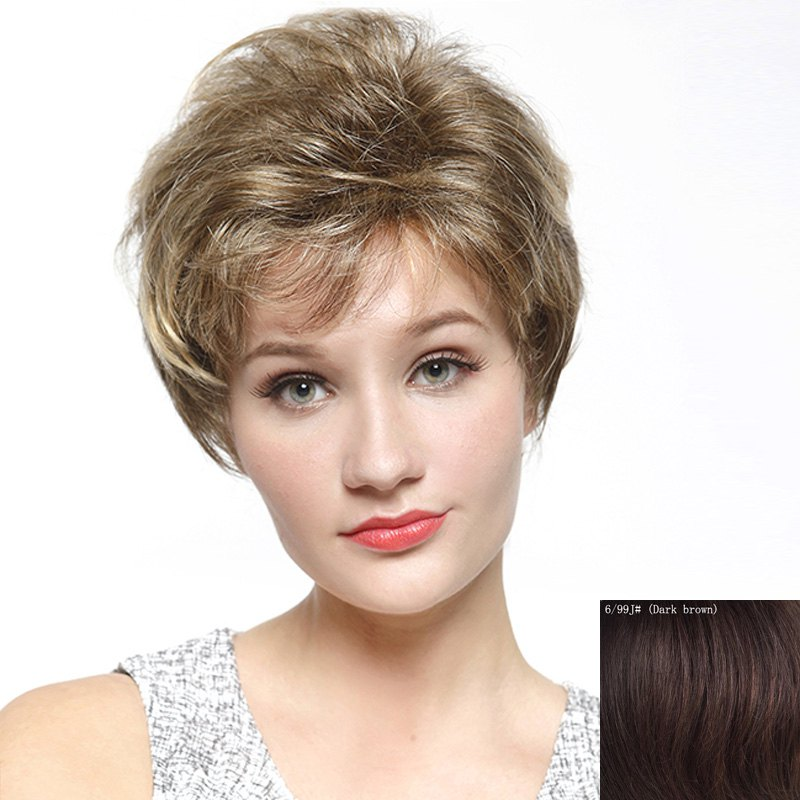 Ladylike Side Bang Capless Shaggy Short Curly Human Hair Wig - DARK BROWN
