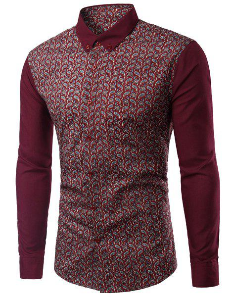 Paisley Pattern Turn-Down Collar Long Sleeve Men's Shirt - WINE RED 3XL