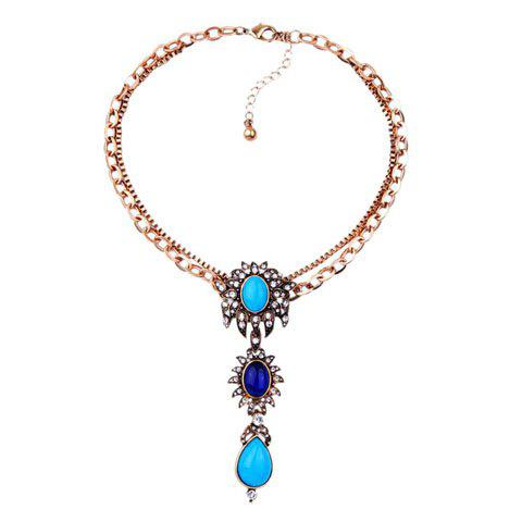 Rhinestone Oval Faux Gem Necklace - GOLDEN